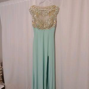 Blue stretchy prom dress